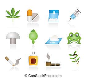 különböző, fajta, közül, kábítószer, ikonok