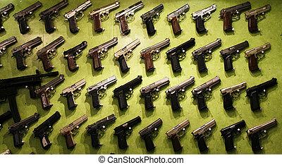 különböző, fegyverek, nagy, gyűjtés
