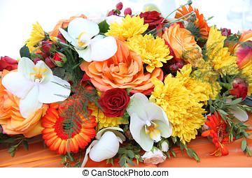 különböző, flowers., háttér, closeup.