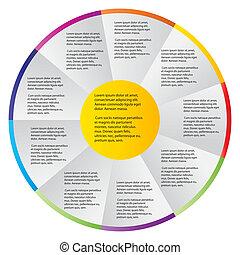 különböző, fogalom, színes, ügy, nyílvesszö, ábra, vektor, szalagcímek, kör alakú, design.