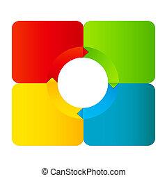 különböző, fogalom, színes, ügy, nyílvesszö, ábra, vektor,...