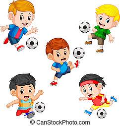 különböző, gyűjtés, játékos, feltevő, futball, gyerekek