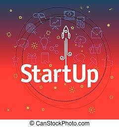különböző, ikonok, concept., startup, híg, included, egyenes
