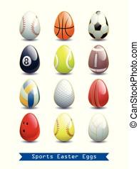 különböző, illustration., nagy, ikra, gyűjtés, sport, works., vektor, kreatív, húsvét, -e