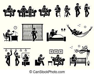 különböző, könyv, felolvasás, elhelyez, emberek