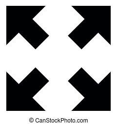 különböző, középcsatár, hegyezés, szín, nyílvesszö, ábra, négy, fekete, irányítások, ikon
