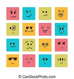 különböző, karikatúra, érzelmek, arc