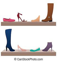 különböző, nő, cipők