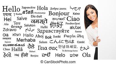 különböző, nő, nyelv, ügy, felett, school), nyelvek, háttér,...
