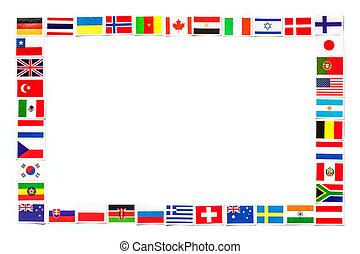 különböző, országok, keret, elszigetelt, zászlók, világ, nemzeti