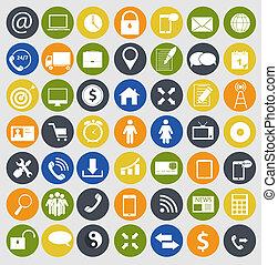 különböző, pénzel, ikonok, kommunikáció, ábra ügy, vektor
