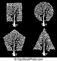 különböző, shapes., geometriai, bitófák