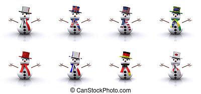 különböző, snowmen, országok