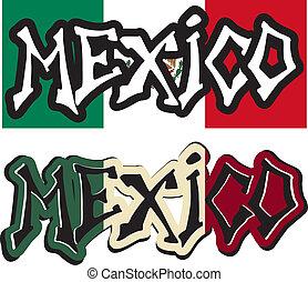 különböző, szó, mexikó, vektor, falfirkálás, style.