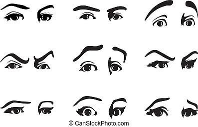 különböző, szem, ábra, vektor, emotions., kifejez, kifejezés