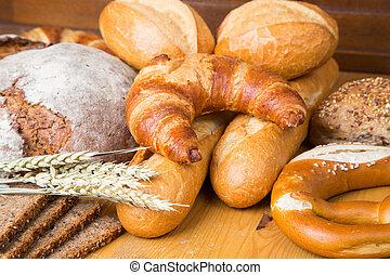 különböző, termékek, pékség, írógépen ír, bread