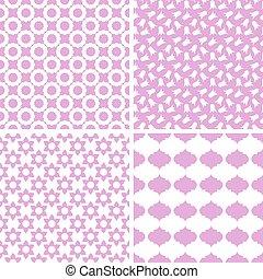 különböző, vektor, seamless, patterns.
