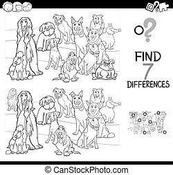 különbségek, játék, állatok, kutya, szín, könyv