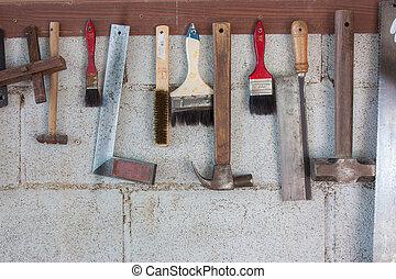 különféle, öreg, kézműves, eszközök, képben látható, fal