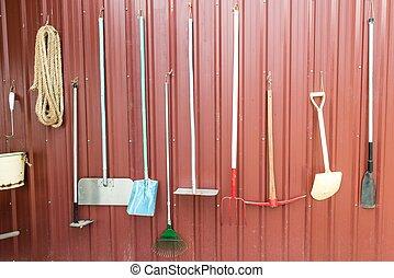 különféle, gazdálkodás, eszközök, és, equipments