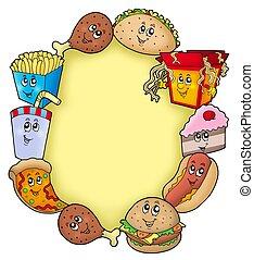különféle, karikatúra, élelmiszer, keret