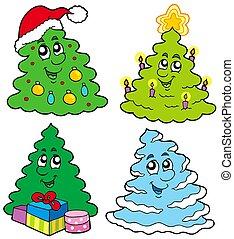különféle, karikatúra, christmas fa