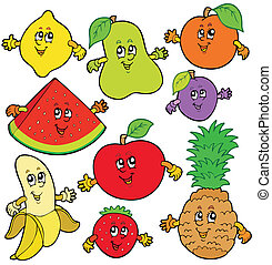 különféle, karikatúra, gyümölcs
