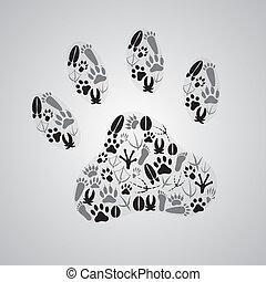 különféle, lábnyomok, eps10, állat