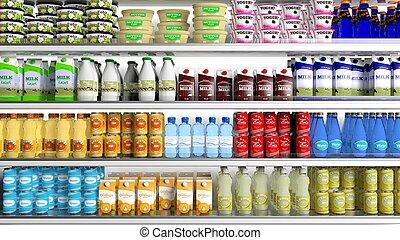 különféle, termékek, élelmiszer áruház, hűtőgép