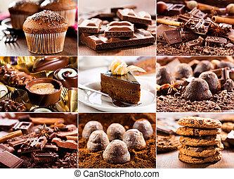 különféle, termékek, csokoládé