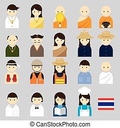 különféle, thai emberek, foglalkozás