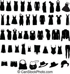 különféle, womens, öltözet, silho
