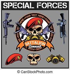 különleges csapatok, folt, állhatatos, -, részvény, vektor