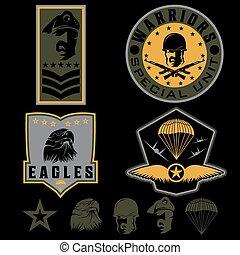 különleges, egység, hadi, embléma, állhatatos, vektor, tervezés, sablon