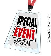 különleges esemény, jelvény, lanyard, tanácskozás, expo,...