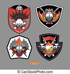 különleges, set., ábra, guns., embléma, koponya, vektor, erőltet, folt, hadsereg