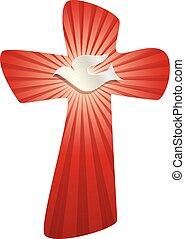 küllők, keresztény, jelkép, elszigetelt, kereszt, háttér, fehér galamb, fénylő, piros