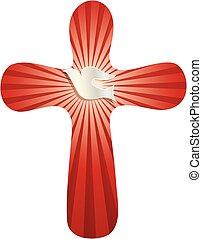 küllők, keresztény, jelkép, kereszt, háttér, kerek, fénylő, galamb, piros