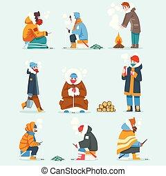 külső, élénken, tél, fagyasztott, öltözött, férfiak, tó, ábra, extremal, állhatatos, halászat, vektor, jég, elfoglaltság, folyó, vagy, halászat