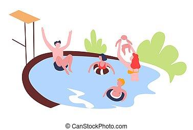 külső, család, szabad, szórakozás, elfoglaltság, pocsolya, úszás