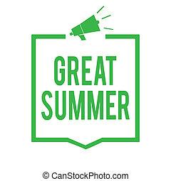 külső, fénykép keret, hangfal, írás, jegyzet, haladó, élvez, tengerpart, jó, ügy, csatlakozó, kiállítás, napfény, showcasing, fontos, information., nagy, hangszóró, zöld, móka, summer., birtoklás