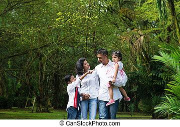 külső, hétvégi, indiai, család, boldog