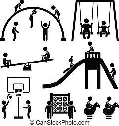 külső, liget, gyerekek, játszótér