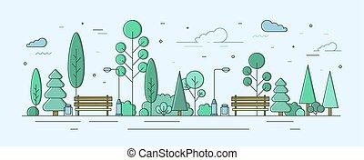 külső, modern, utca, kert, város, mód, terület, szórakozási, kreatív, facilities., elhelyezés, planning., közönség, városi, bitófák, lineáris, színes, liget, zone., ábra, bokrok, vektor, vagy