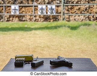 külső, pisztoly, lövés, közül, céltábla, lőtávolság