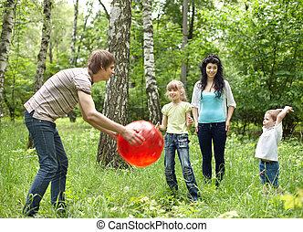 külső, vidám család, játék labda, .