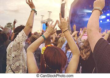 külső, zene, fesztivál, tolong