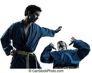 künste, frau, silhouette, paar, karate, kriegerisch, vietvodao, mann