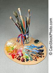 künstler, bürsten, und, palette