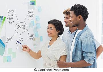 künstler, in, diskussion, vor, whiteboard